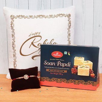 Kundan Rakhi with Soan Papdi and Raksha Bandhan Cushion Gift Combo