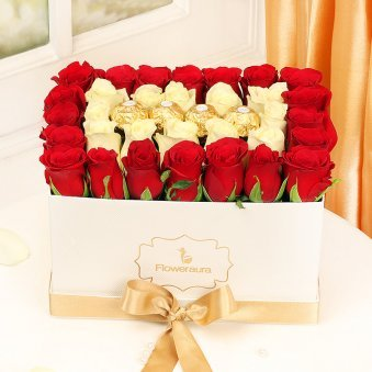 Red Roses with Ferrero Rocher in a Flower Box
