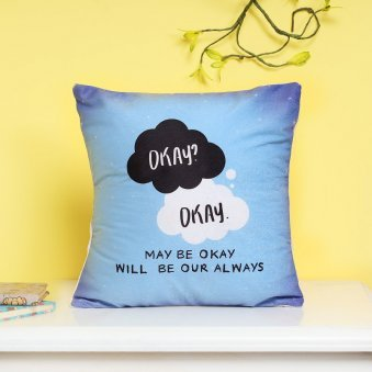 Sky Blue Colored Quoted Cushion with Distant View