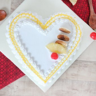 Pineapple Flavored Heart Shaped Cake - Top View
