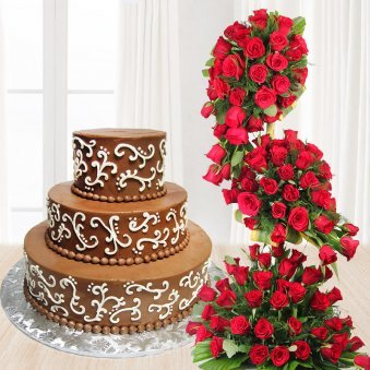 3 tier chocolate cake with red roses