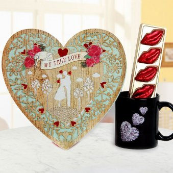 A Coffee Mug A beautiful true Love card and A pack of five handmade chocolates
