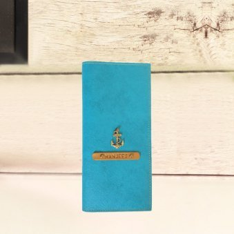 Turquois Coloured Personalised Travel Folder