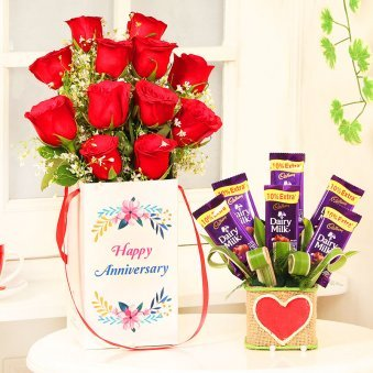 Anniversary Combo of Red Roses in a Box with Chocolate Bouquet in Vase