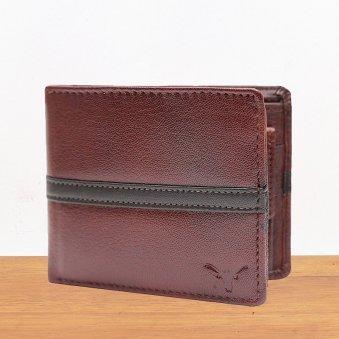 Brown Leather Wallet - 11.5X9.5 cm