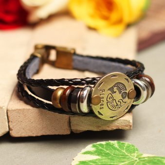 Golden Peacock Black Pisces Shine Unisex Bracelet