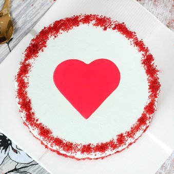 Anniversary Special Cake With A Fondant Heart - Top View