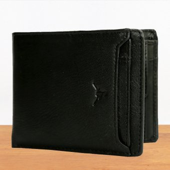 Black Multi Pocket Leather Wallet - 11.5X10.5 cm