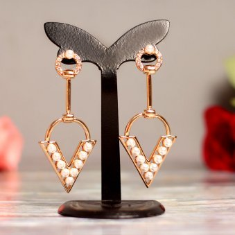 Gold-Plated and White Geometric Beaded Drop Earrings