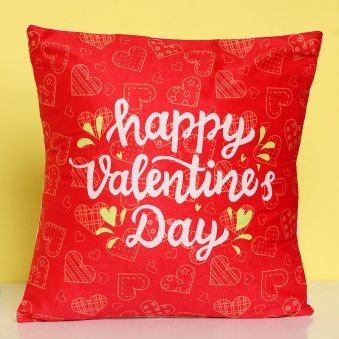 Happy Valentines Day Red Cushion with Zoomed in View
