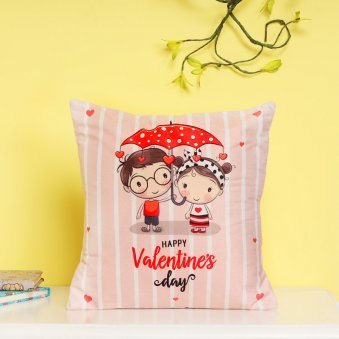 Happy Valentines Day Cushion with Distant View