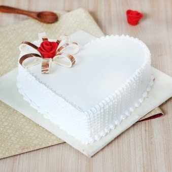 Heart Shaped Vanilla Cake With Rose On Top