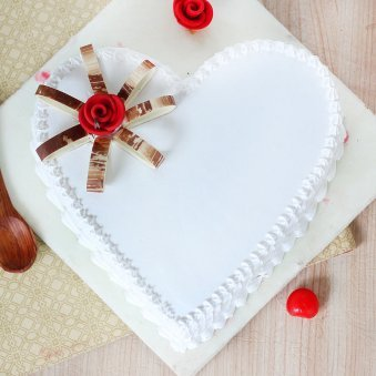 Heart Shaped Vanilla Cake With Rose On Top - Top View