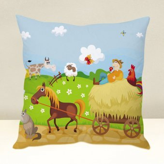 Village Scene Cushion