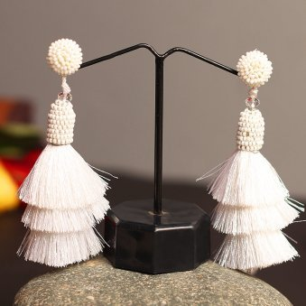 White Tassel contemporary Earring