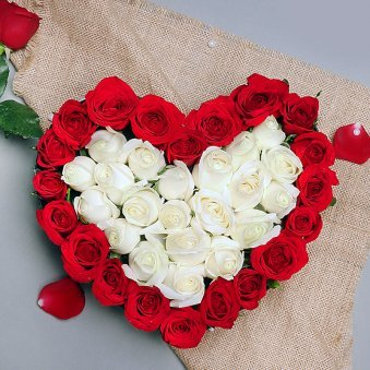 Heart Shape Arrangement of Red and White Roses