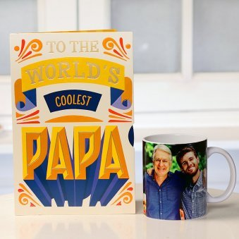 Fathers day Combo of Personalised Mug and Card for Dad