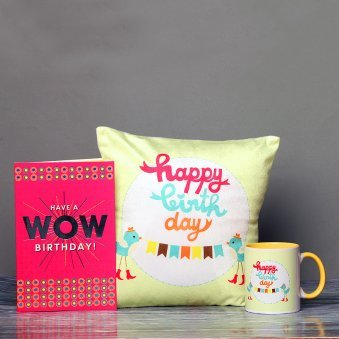 Cushon And Mug With Card Combo For Mom