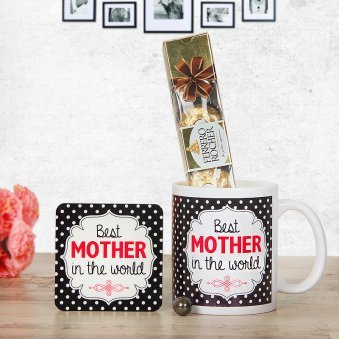 Mug and Chocolates For Mother with Coaster Combo
