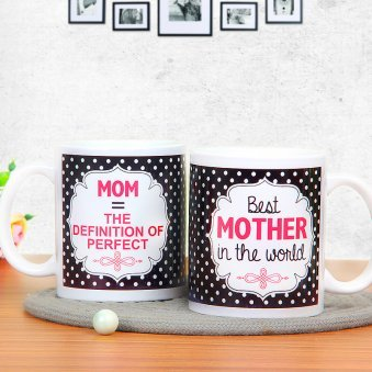 Mothers Day Black and Wite Mug with Both Sided View