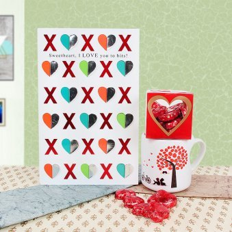 Combo of love card and mug with chocolates