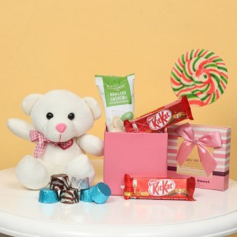 Combo of Teddy with Chocolates and Cashews