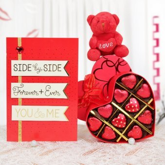 A love card and a teddy with handmade chocolates