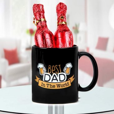 Best Dad in the World Quoted Printed Black Mug with Champagne Shaped Handmade Chocolate