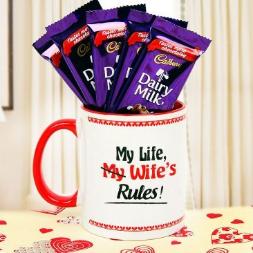5 dairy milk with my wife rules coffee mug