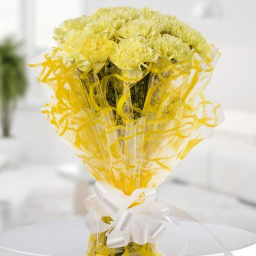Image 1 of 10 Yellow Carnation with Zoomed in View