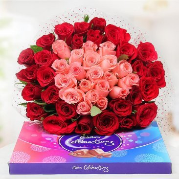 50 red & 30 pink rose bouquet with cadbury celebrations