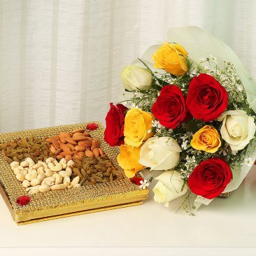 Nuts and Roses Combo of 12 mix-coloured Roses and a half Kg crunchy dry fruits