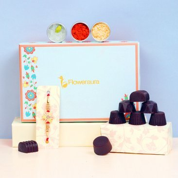 Asterisk Rakhi with Six Handmade Chocolates, Roli Chawal and Signature Box