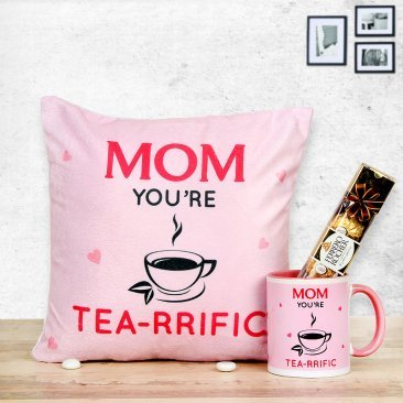 Mom you're Tea-rrific cushion and mug with Ferrero Rocher chocolate for mothers