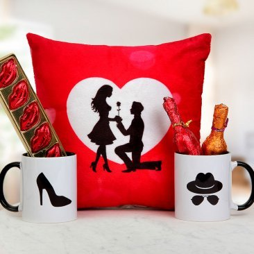 A 12x12 Inches Beautiful Cushion with Handmade Chocolates Heart and Bottle Shaped and A Pair Mr and Mrs Mugs