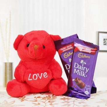 Cute teddy and two dairy milk chocolates combo