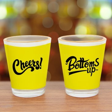 Pair of printed yellow shot glasses
