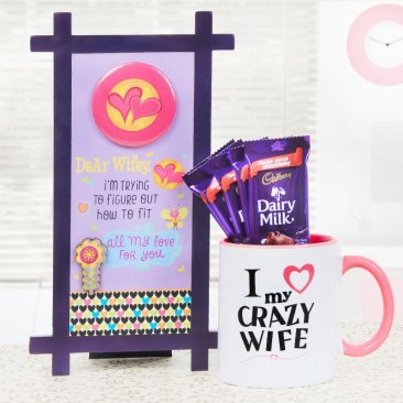 Table stand combo having a mug and five dairy milk chocolates