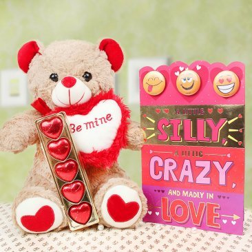 Card and chocolates with a teddy combo