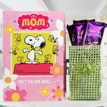 cutest expressions - a combo gift of greeting card and chocolates for Mother