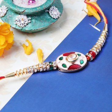 Enticing Kundan Rakhi for Brother