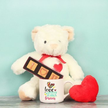 White Teddy with Chocolates and Mug alongwith Red Heart