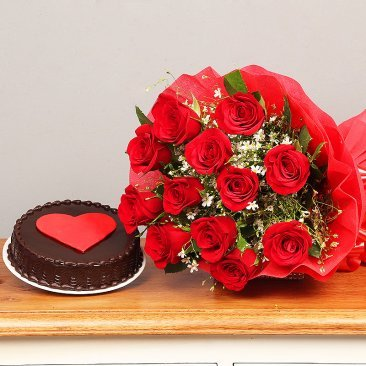 Bunch of Red Roses and Chocolate Cake Combo