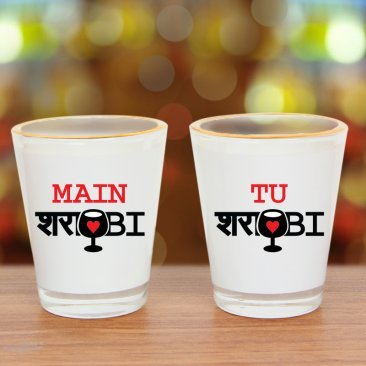 Pair of printed white shot glasses