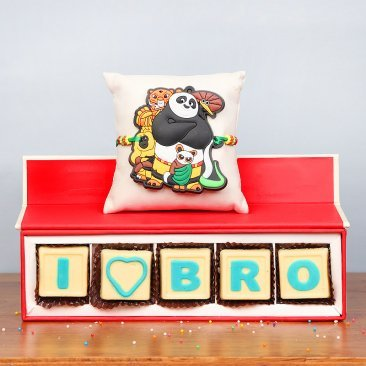 Kung Fu Panda Rakhi and Handmade Chocolates for Brother