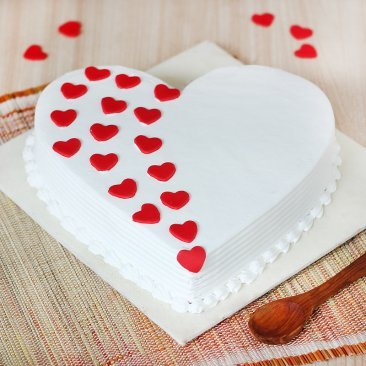 Heart Shaped Vanilla Cake With Hearts On It with Normal View
