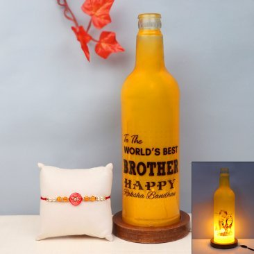 Rakhi with Customised Bottle Lamp