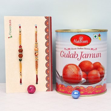 Two Rudraksh Rakhis with One Kg Gulab Jamun Combo
