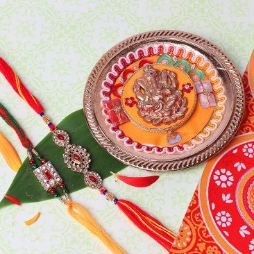 Two Rakhis Set and Ganesha Designed Thali