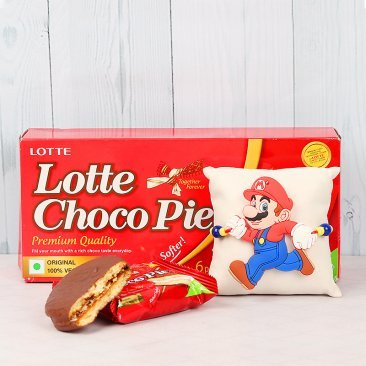 Super Mario Rakhi and Lotte Choco Pie Combo for Kids